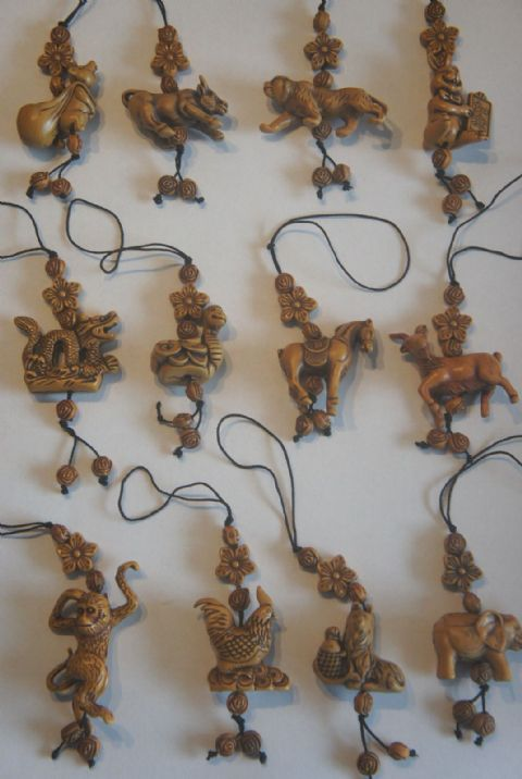 CHINESE ZODIAC ANIMAL CHARMS ROSEWOOD EFFECT LUCKY CHARMS ON A CORD
